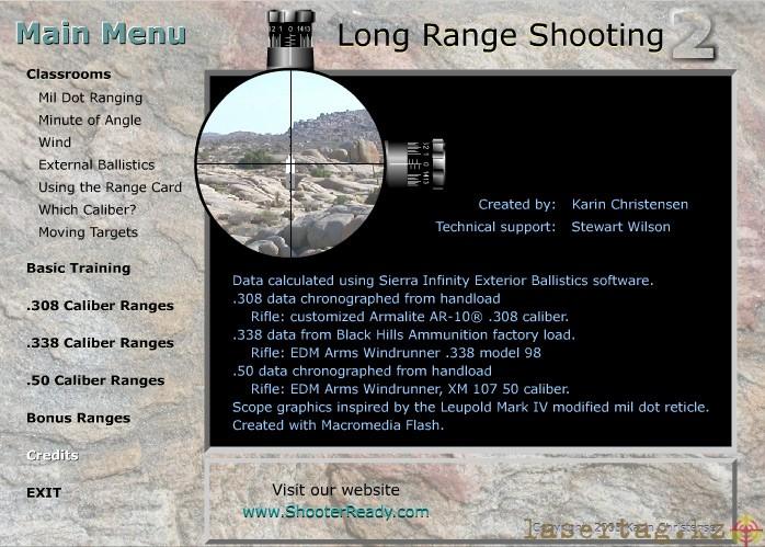 Главное меню Long Range Shooting